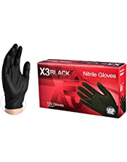 AMMEX - BX344100-BX - Nitrile Gloves - Disposable, Powder Free, Latex Free, 3 mil, Food Safe, Medium, Black (Box of 100)