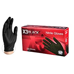X3 Industrial Black Nitrile Gloves - 3 m...