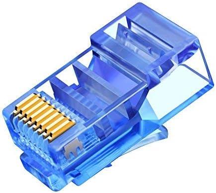 UTP Coloured Network Plug for Cat5E Ethernet Cable 100PCS Blue CNCOB RJ45 Connectors 8P8C