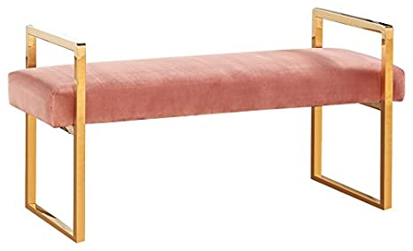 Wondrous Meridian Furniture Olivia Collection Modern Contemporary Pink Velvet Upholstered Bench With Gold Stainless Steel Legs 43 W X 17 5 D X 21 H Machost Co Dining Chair Design Ideas Machostcouk