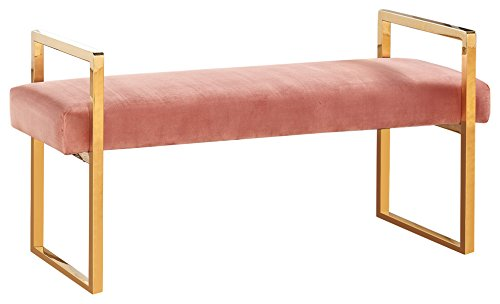 "Meridian Furniture 111Pink Olivia Contemporary Style Velvet Upholstered Bench with Gold Stainless Steel Legs, 43""L x 17.5""D x 21""H, Pink from Meridian Furniture"