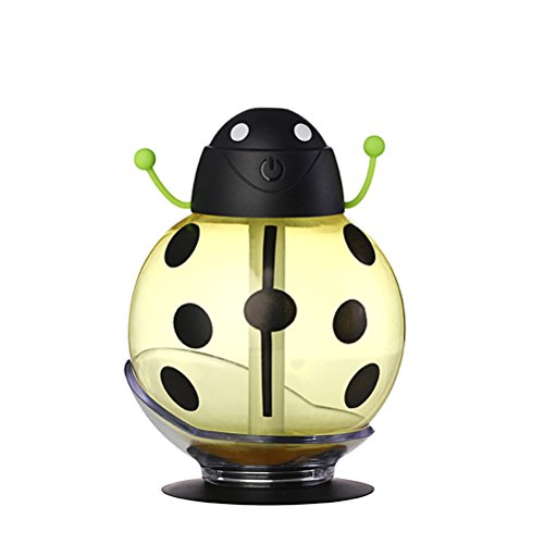 Frcolor Cool Mist Humidifiers Beetle Humidifier 260ML Mini USB Air Freshener Purifier Mist Maker for Makeup Home Travel Car (Yellow) by Frcolor
