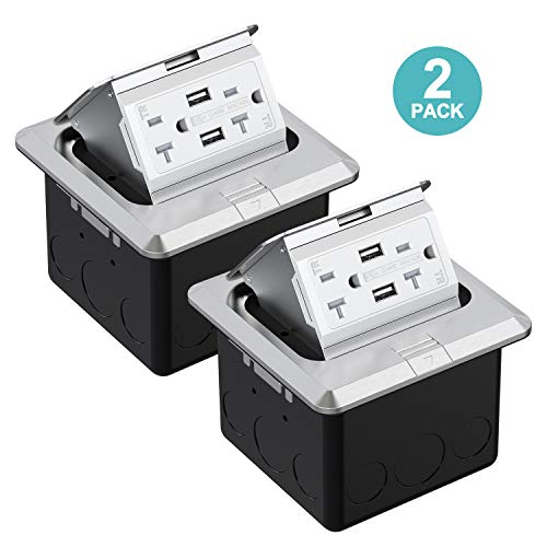 (WEBANG Pop Up Floor Outlet Covers Box with 20 Amp Stainless Steel USB TR Receptacle Outlet (Silver) 2PACK)
