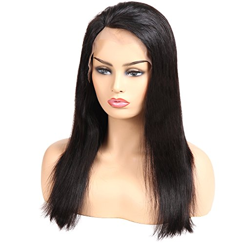 Huarisi Silky Brazilian Hair Lace Front Wigs With Baby Hair and Bleached Knots 100% Real Straight Virgin Human Hair Wig 14 Inches Amazon Prime