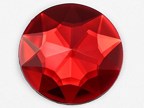 43mm Red Ruby H103 Flat Back Round Acrylic Gems High Quality Pro Grade Individually Wrapped - 4 Pieces
