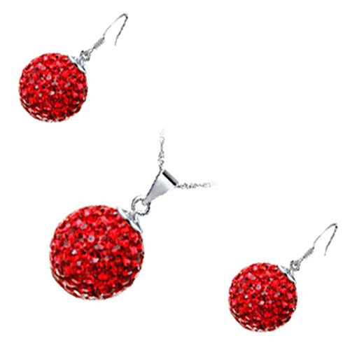 GWG Sterling Silver Plated Jewellery Set of Pendant Necklace and Earrings Adorned with Sparkling Ruby Red Crystals Ball for Women