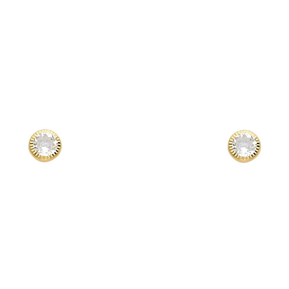 4mm Ioka 14K Yellow Gold CZ Round Screw Back Stud Earrings