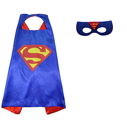 Superhero or Princess Comics Cartoon Dress Up Costume Cape & Mask Set For Kids Toddlers Pretend Play (Blue