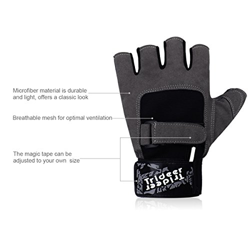 Trideer Workout Gloves, Full Palm Protection & Extra Grip, Gym Gloves for Weight Lifting, Training, Fitness, Exercise (Men & Women)