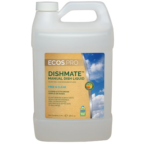 Dishmate Dishwashing - ECOS PRO Dishmate Manual Dishwashing Liquid, Free & Clear, 1 Gallon (4 Bottles/Case) - BMC-EFPPL9721-04