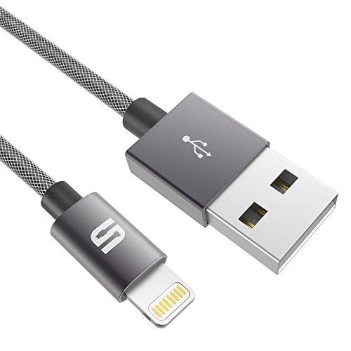 Syncwire Cable Lightning Cargador iPhone [Apple MFi Certificado] 1M-Nylon Cable para iPhone 7 7Plus SE 6s 6 Plus 5s 5c 5 se, iPad Pro Air 2, iPad mini 4 3 2, iPod touch 5th gen / 6th gen / Nano 7th gen, Gris [Nueva Versión]