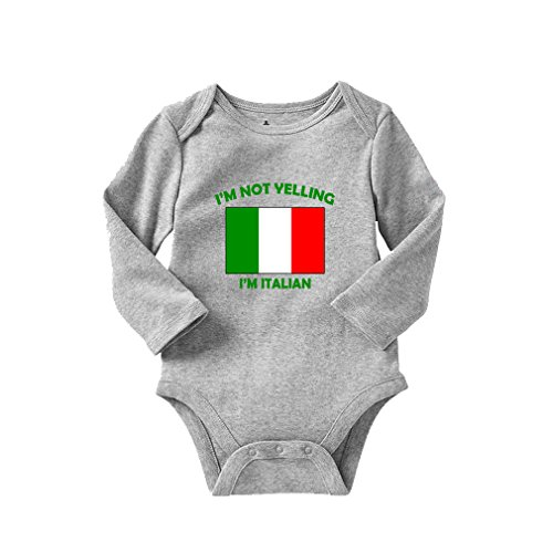 I'm Not Yelling I Am Italian Italy Long Sleeve Baby Bodysuit One Piece Oxford Gray 6 Months ()