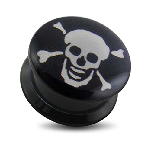 1/2 Inch - 12MM Danger Skull Logo Picture on Black UV Acrylic Internally Threaded Screw Fit Double Flared Ear (Black Uv Acrylic Plugs)