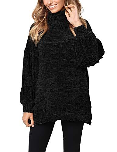Kalin Women Casual Oversized Turtleneck Long Sleeve Velvet Sweater Pullover Jumper Black