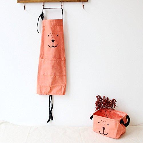 9OVE, Apron, Home Kitchen Tool, Parent-Child Cartoon Cookers Animal Print Cotton Linen - Orange Kid ()