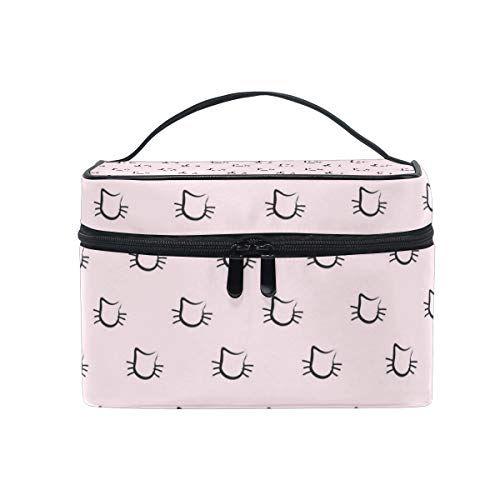 Makeup Bag Cats Face Cute Pink Cosmetic Case Portable Carry Travel Toiletry Bag Toiletry Bags for Womens Storage -