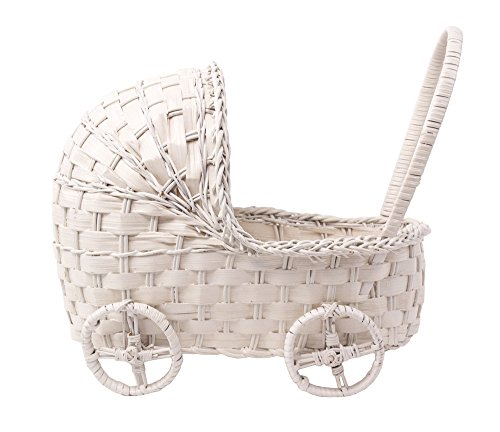 Willow Cradle Baby Shower Basket in White - 11 Inches
