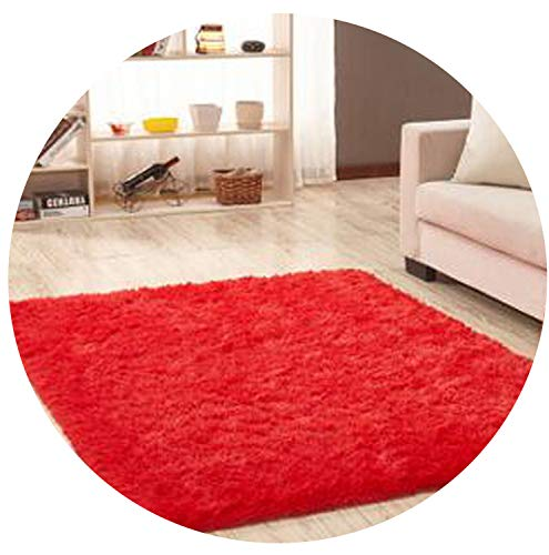 Living Room Carpet European Fluffy Mat Kids Room Rug Bedroom Mat Antiskid Soft Faux Fur Area Rug Gray Red Pink Rectangle Mats,Red,60cm x 120cm (Drill Marine Manual)