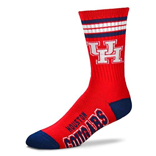 For Bare Feet NCAA 4 Stripe Deuce Crew Men Socks-Houston Cougars-Large -