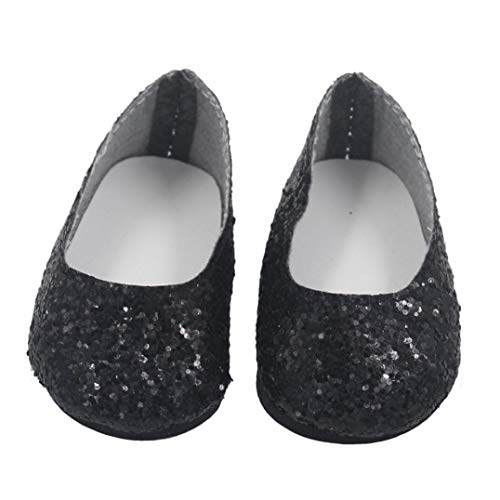 Black For Dolls Dress Poupées Our Girl Pour Chaussures 18inch Glitter Shoes Generation Set Yuyoug Doll American Shoes ya1B1q