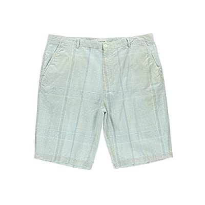 Calvin Klein 1261 Mens Blue Cotton Plaid Flat Front Casual Shorts 36