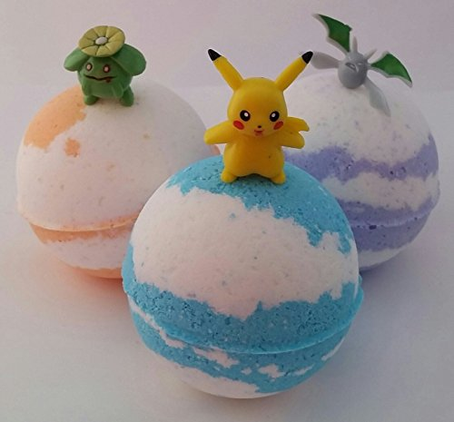 Bath Bombs with Pokemon Figures set of (3) 2.5'' Bath Bomb - Fragrance is Monkey Farts pokeball,handmade,care package,self care,bath bomb gift set,mental health,pokemon go by Crazy Mama's Soaps and More