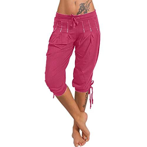 (Zohto New Women Fashion Summer Damenloose Baggy Yoga Pants Harem Pants Hot Pink)