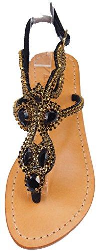 CARTIER Pasha Daytona Crystal Jeweled Leather Sandals (9) Black