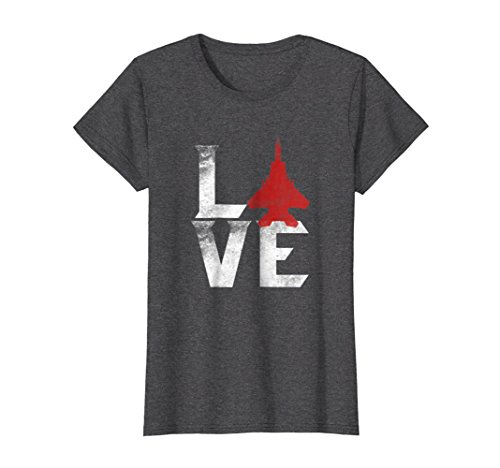 Us American Air - Womens Love American Military Aircraft Pilot Shirt USAF Proud Tee Large Dark Heather