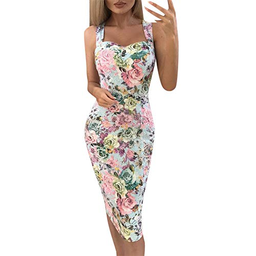 - Summer Womens Floral Print Mini Dress Color Block Sleeveless Dress A-Line Maxi Sundress Pink