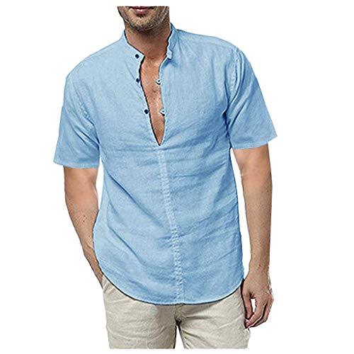 Mens Casual Linen Shirt Tronet Men's Linen Short Sleeve Summer Solid Shirts Casual Loose Dress Soft Tops Tee