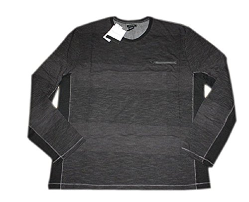 Calvin Klein Men's Zipper Pocket Long Sleeve Henley Shirt (Black, XX-Large)