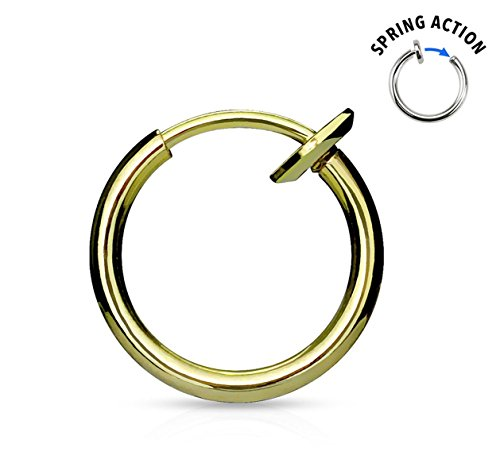Forbidden Body Jewelry Gold IP Plated Surgical Steel Spring-Action Faux Septum, Ear & Nose Hoop -