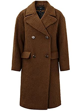ME&CITY Women's Winter Double Breasted Wool Mohair Coat, Brown XS
