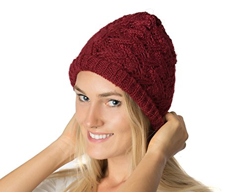 - AN Vintage Slouchy Beanie Hat Crochet Brick Red Metallic Frosted Topper Lined