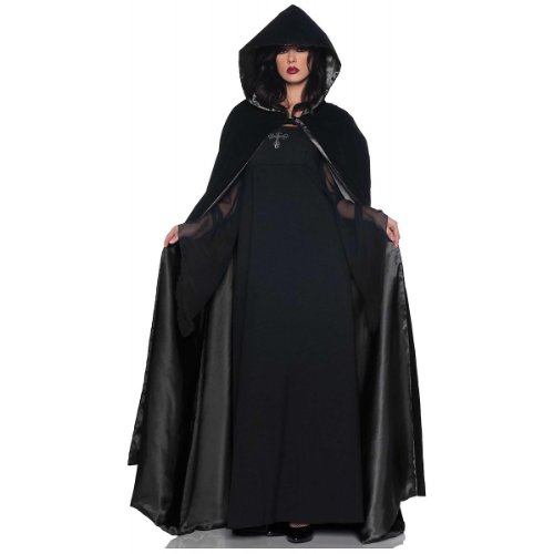 Velvet & Satin Hooded Cape - Black