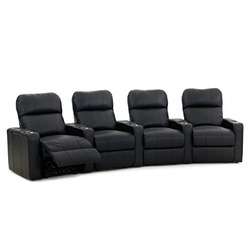 Octane Turbo XL700 Black Bonded Leather with Manual Recline Row of 4 Curved