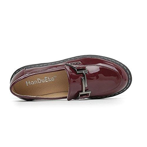 Meeshine Dames Platform Penny Loafers Comfort Slip Op Kleding Schoenen Wijn