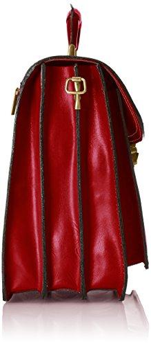 de Verdadera Fabricado cuero CTM Piel hombre cartera en Rojo Bolso Rosso 100 Italia 1RfwqT