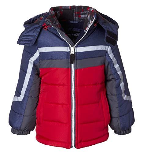 (Sportoli Boys' Fleece Lined Hooded Colorblock Winter Puffer Bubble Jacket Coat - Red Print (Size 2T))