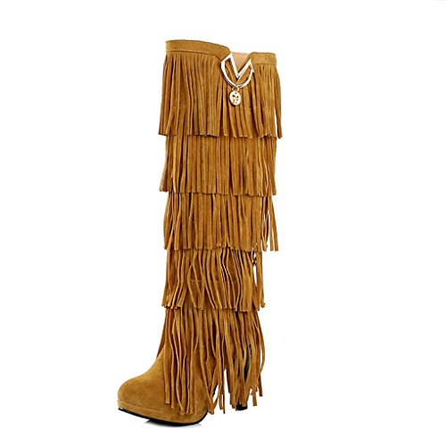 Autumn and Winter High Boots Fashion Tassel Female Boots Yellow 6RDYup