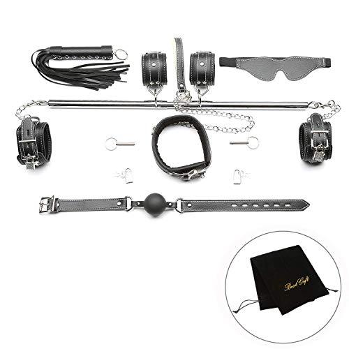 exreizst Adjustable Spreader Bar with Leather Straps System Set Silver (Silver 1)