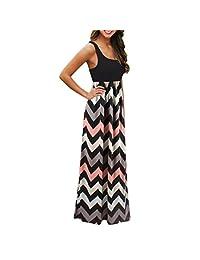 Sumen Women Plus Size Sleeveless Wavy Stripe Boho Long Beach Maxi Dress S-3XL