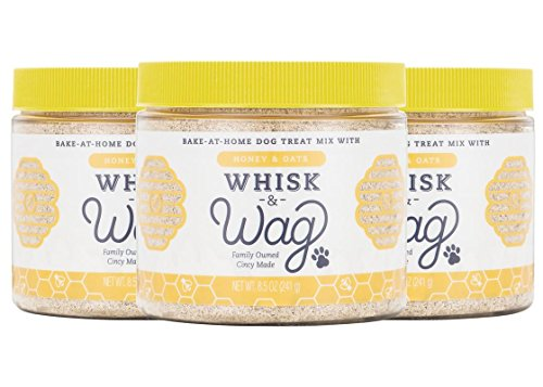Whisk & Wag All-Natural DIY Bake at Home Dog Treat Mix: Honey & Oats for Healthy Skin and Coat, 8.5 Ounce Jar, Pack of 3 (25.5 Ounces Total)