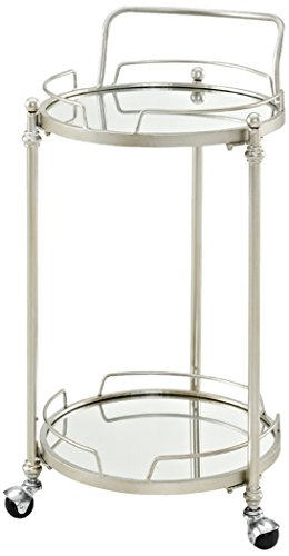 Linon AMZN0214 Mirrored Bar Cart, Silver by Linon