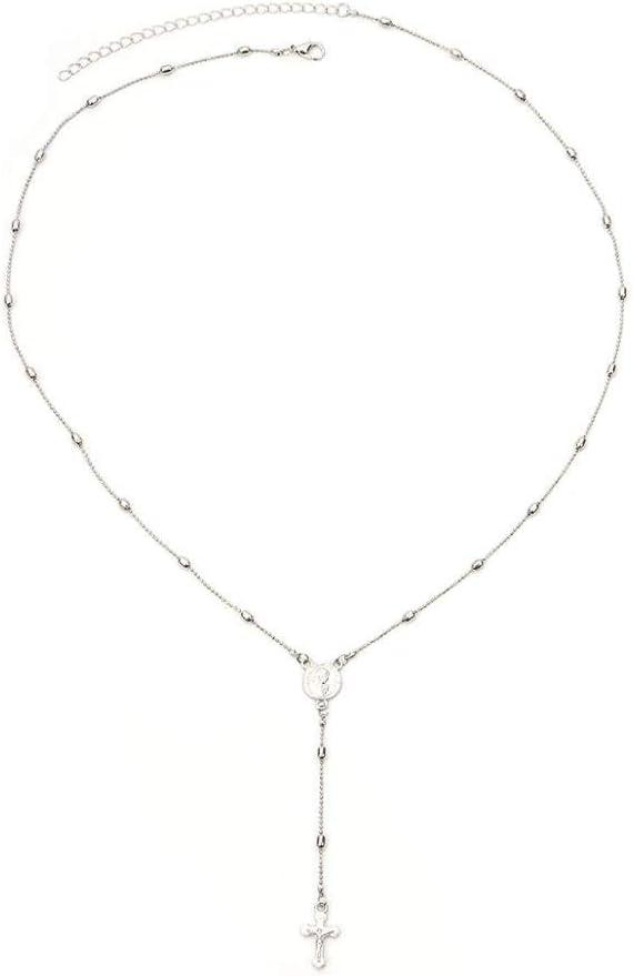 ZUXIANWANG Collar Cadena Cordón de aleación de Hierro Religiosa Cruz Colgante Collar Collar de Plata Joyería Premio Jesús