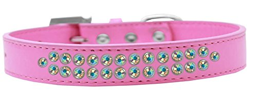 Mirage Pet Products Two Row AB Crystal Bright Pink Dog Collar, Size 20 by Mirage Pet Products