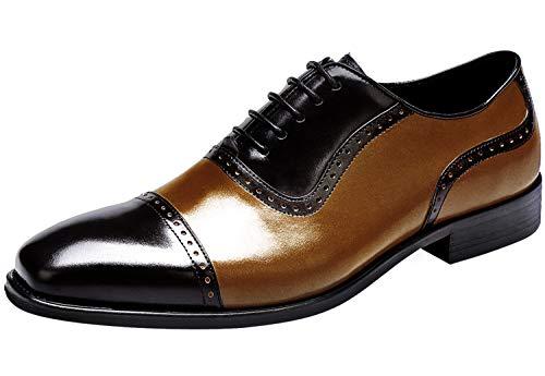 Mens Wingtip Oxford Shoes for Men - Mens Genuine Leather Dress Shoes, Brogue Formal Shoes, Lace-up Derbies Shoes Black-Brown 5 M US ()