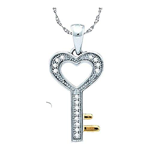 Womens Round Diamond Heart Key Love Pendant 1/20-Carat tw, in Sterling Silver from Roy Rose Jewelry ()