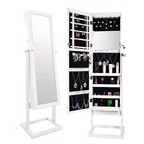 Bonnlo Jewelry Armoire Stable Square Stand with 6 LEDs with 4 Adjustable Angle Tilting, Well Packed by styrofoam & Stiffer Covering, Lockable Heavy Duty Bedroom Make up Mirror Cabinet Organizer Closet by Bonnlo (Image #7)